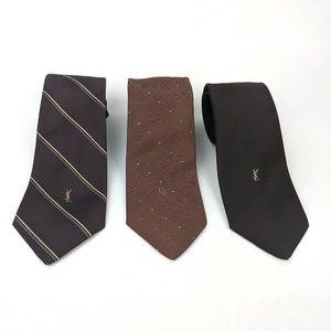 DESIGNER Men's Brown Tie Bundle - Dior & YSL